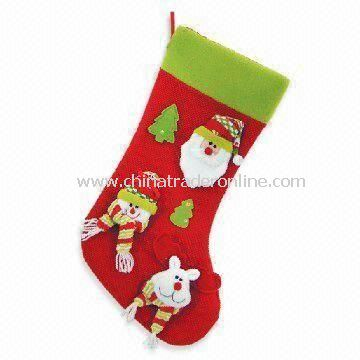 Fabric Christmas Stocking with Santa Claus and Trees, Gift for Child, Eco-friendly