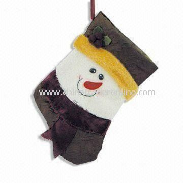 Fabric Christmas Stocking with Snowman, Gift for Child, Customized Imprint on Labels are Accepted