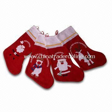 Felt Stocking with Santa and Reindeer, Measures 48cm