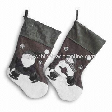 Gray Christmas Stockings, Measures 21 Inches