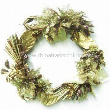 Natural Christmas Wreath, Made of Styrofoam, Natural Leaves, and Cogon, Measures 21 x 21 x 6 Inches