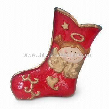 Paper Mache Christmas Stocking with Snowman Decoration and 12-inch Height