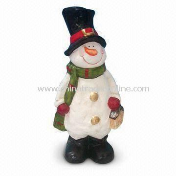 Paper Mache Snowman Christmas Decoration with Height of 12 Inches
