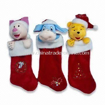 plush christmas sock available in various designs en71 certified measures 48cm