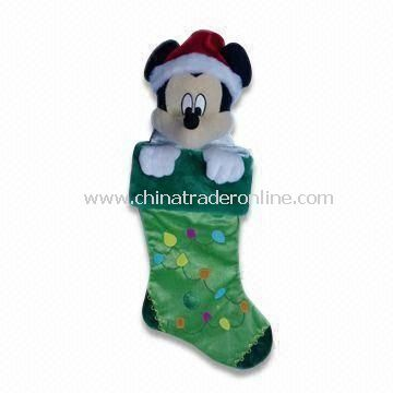 Plush Christmas Sock with EN71 Certification, Various Designs are Available, Measures 48cm