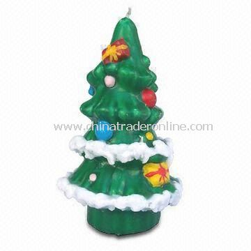 Scented Candle in Christmas Tree Shape, Made of Paraffin Wax, Ideal for Promotional Gifts