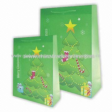 Shopping Bags with Christmas Tree Pattern, Available in Various Sizes