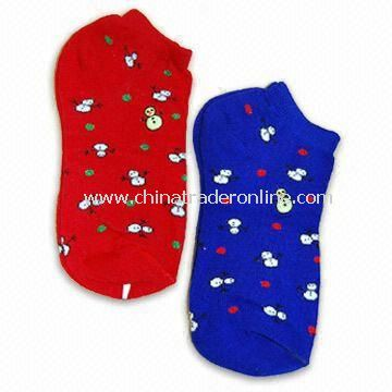 Spandex, Cotton, and Acrylic Socks with Christmas Pattern