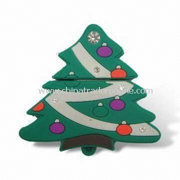 USB Flash Drive with Free Logos and Christmas Tree Design, 1 to 16GB Memory Capacity