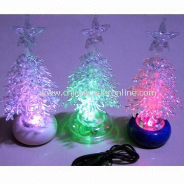 USB Flashing Christmas Tree Lights, Made of Transparent Plastic