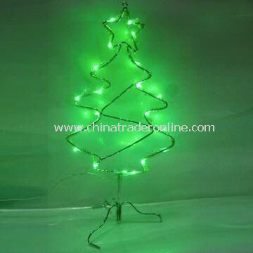 Wire-framed Christmas Tree with 5V Voltage, Blue or Green LEDs