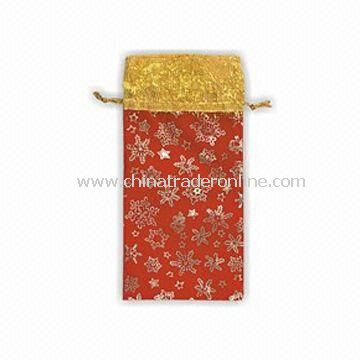 Christmas Wine Cover, Available in Gold and Red, Made of Velour