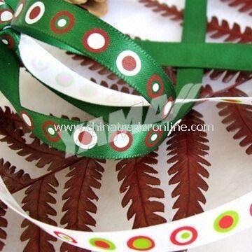 Green Christmas Ribbon, Made of 100% Polyester Yarn