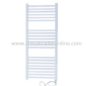 Electric white oval curved towel rail