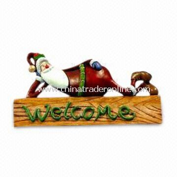 Hand-painted Polyresin Christmas Decoration with Sign, OEM Designs are Accepted