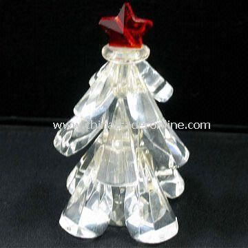 Crystal Tree Figurine with Red Star for Holiday