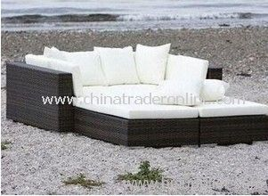 Garden rattan sofa bed set