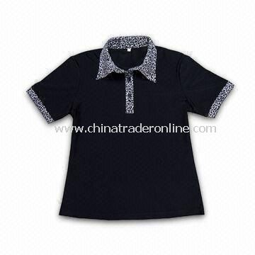Ladies Golf Polo Shirt with Leopard Grain Collar, Made of PIMA Cotton, Comes in Black