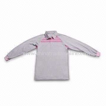 Long Sleeve Golf Shirt with Elastic Cuff, Made of 100% Cotton or Polyester from China