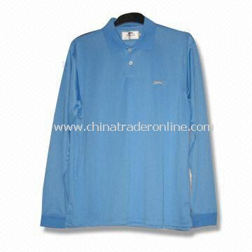 Long-sleeved Mens Golf T-shirt with 2XS to 6XL Size Range and Sewn Decoration