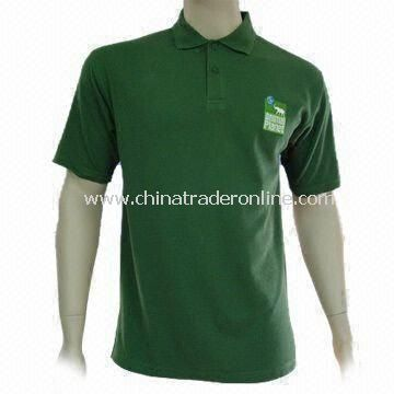 Mens Golf Shirt, Available in Various Colors, with Two Wood Tone Buttons