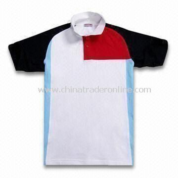 Mens Short-sleeved Casual Golf Shirt, Made of Cotton and Polyester Fabric Material from China