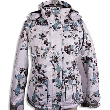 Womens Topcoat/Ski Wear with Printing, Made of 100% Polyester