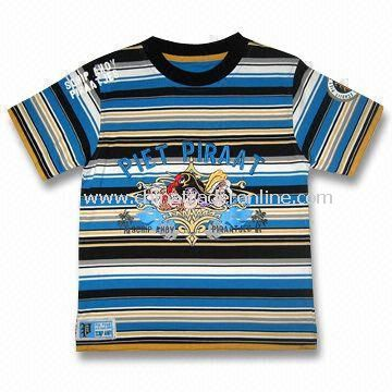 Childrens T-shirt with Print and Patch Embroidery, Made of 100% Cotton Y/D