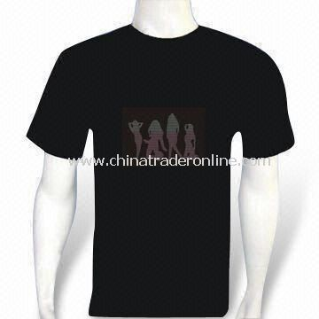 EL Flash and Sound Activated Promotional T-shirt with 4 x AAA Batteries, Made of Cotton