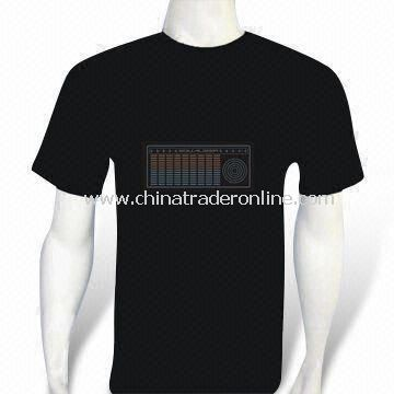 EL Flash and Sound Activated Promotional T-shirt with Four AAA Batteries, Made of Cotton