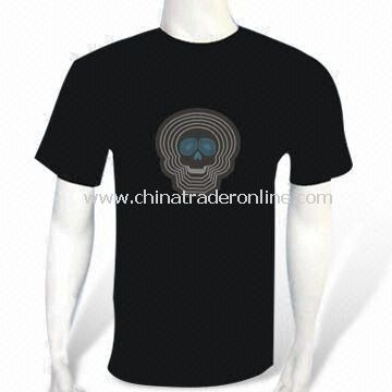 EL Flash and Sound-activated T-shirt with Four x AAA Batteries, Made of Cotton