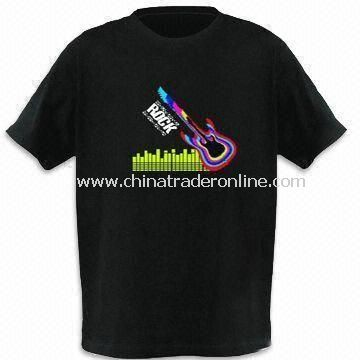 EL Flash T-shirt, Customized Logos and Designs are Welcome, with Sound Activated Graphics Equalizer