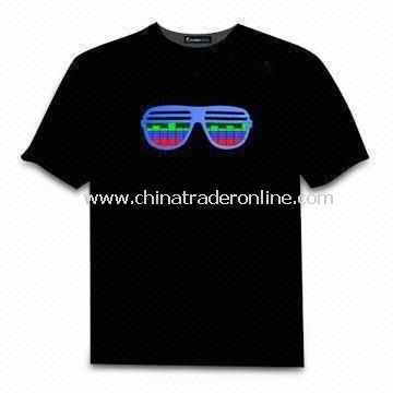 EL Flash T-shirt/Sound Activated Graphic Equalizer, Customized Logos Accepted