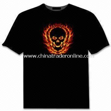 EL Flash T-shirt with Sound Activated Graphics Equalizer, Customized Logos and Designs are Welcome