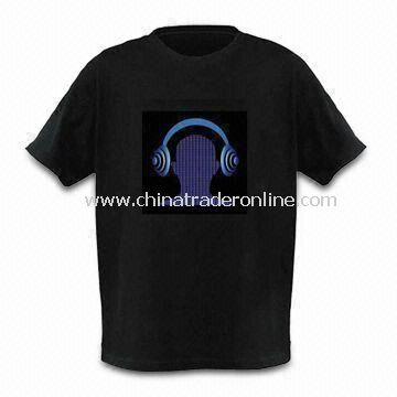 EL Promotional Flashing T-shirt with Sound Activated Graphic Equalizer, Customized Logos Welcomed