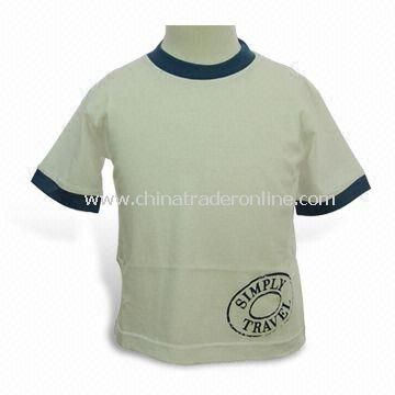 Kids T-shirt with Contrast Collar and Cuff, Made of 100% Combed Cotton