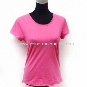 Ladies Knitted T-shirt with Specially Designed Bottom/Collar and Cuff, Made of 100% Cotton
