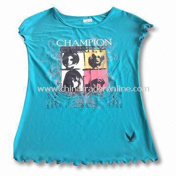 Ladies T-shirt in Fashionable Design and Various Colors, Made of 100% Cotton
