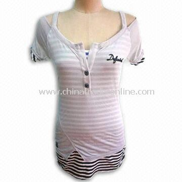 Ladies T-shirt with Short Sleeve, Made of 60% Polyester and 40% Rayon