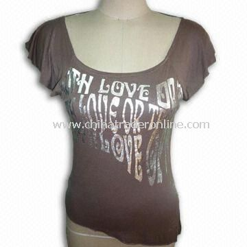 Ladies T-shirt with Slant-cut Bottom, Made of 95% Rayon and 5% PU
