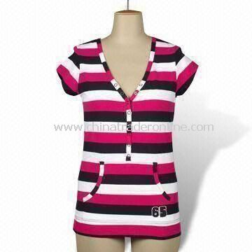 Ladies T-shirt with Yarn Dye Stripes, Short Sleeves and 8 Press Studs on Placket