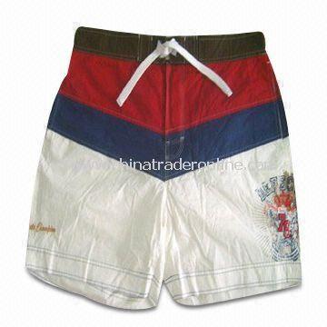 100% Cotton Poplin Mens Swimming Short, Half Elastic Eyelets and Drawcord on Waistband
