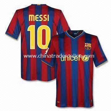 100% Polyester Soccer Jersey for Barcelona Club Home with Embroidery and Printing on Front