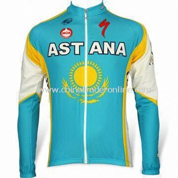 130g Long Sleeves Cycling Jersey with Heat Transfer Printing, Made of 50% Polyester and Coolmax Yarn