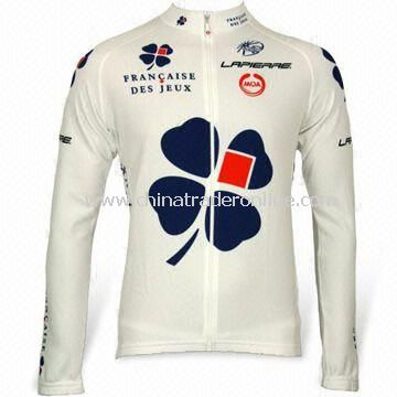 Cycling Jersey with Full Heat Transfer Sublimation Printing, Made of 50% Polyester and Coolmax Yarn