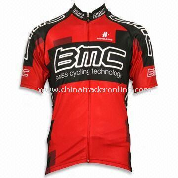 Cycling Jersey with Full Heat Transfer Sublimation Printing and Short Sleeves, Weighs 130gsm
