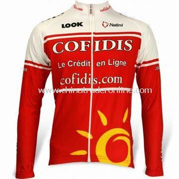 Cycling Jersey with Long Sleeves, Quick-dry Function and Full Heat Transfer Sublimation Printing