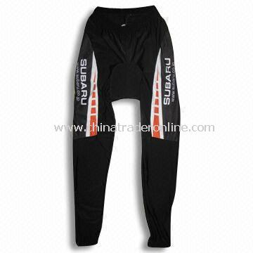Cycling Long Pants with Mesh/Fleece Inside Attached, Made of Nylon/Lycra, Seamless Sewing