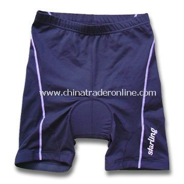 Cycling Short Pants with Mesh and Fleece Inside Attached, Made of Nylon/Lycra