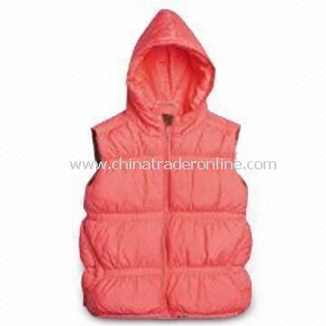 Girls Paige Down Vest with Adjustable Interior Hem Drawcord, Made of 100% Polyester